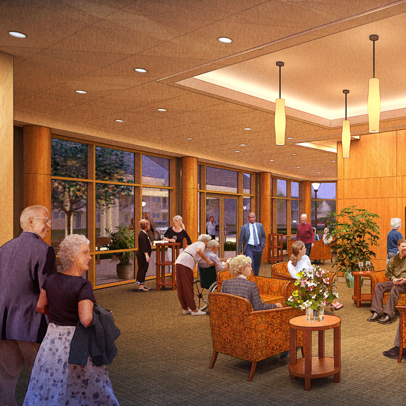 A photo rendering of the lobby and lounge of the theater